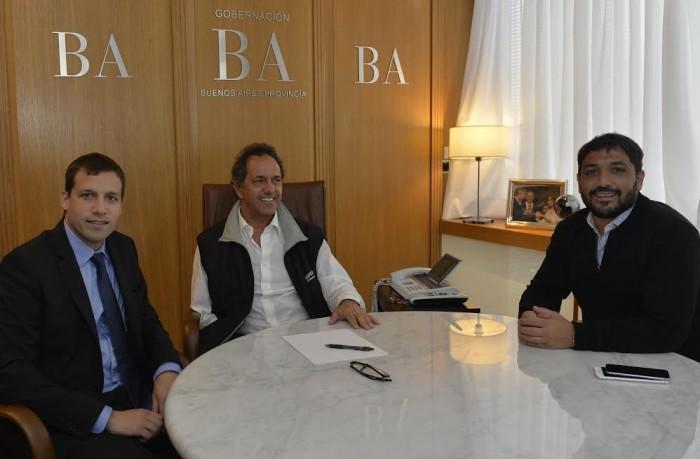 Daniel Scioli y Juan Pablo de Jesús dialogaron por más de una hora en la sede de la entidad bancaria, en compañía del intendente municipal de Berazategui, Patricio Mussi